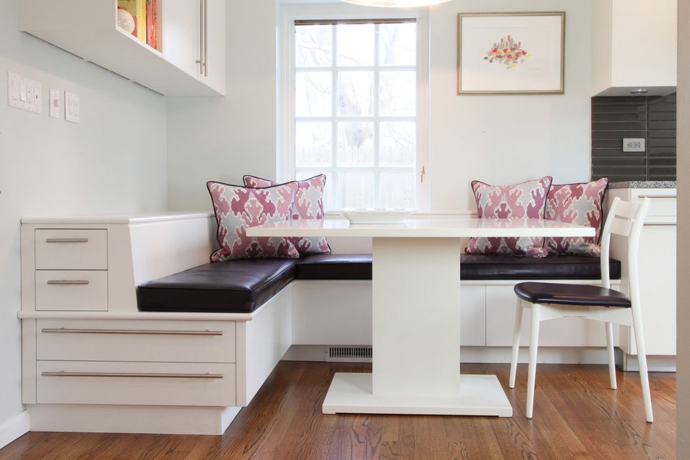 Tall End Table with Drawers with Contemporary Dining Room Also Banquette Bench Seating Decorative Pillows Drawer Pulls Eat in Kitchen Floating Shelf Kitchen Chair Kitchen Storage Kitchen Table Modern Kitchen Painted Walls Wall Art