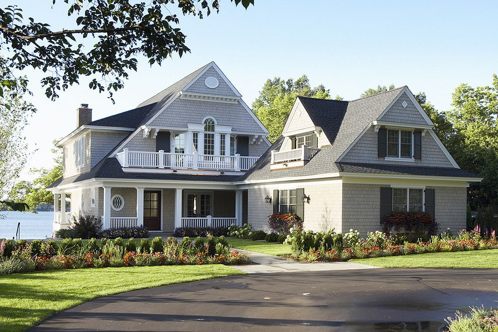 Tamko Heritage Shingles with Victorian Exterior Also Bungalow Cape Cod Style Coastal Driveway Entrance Entry Grass Lawn Path Planters Porch Shingle Siding Turf Walkway Waterfont Window Boxes Window Shutters Window Treatments Wood Trim