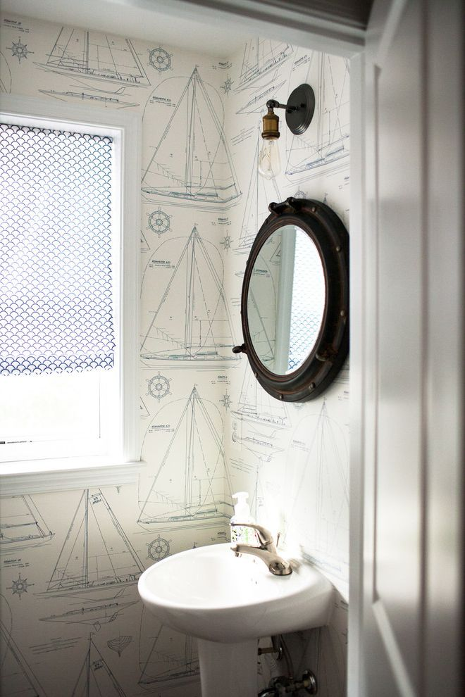 Target Chesapeake Va with Beach Style Powder Room Also Area Rugs Bamboo Blinds Blue and White Roman Shade Exposed Light Bulb Glass Desk Nautical Nautical Mirror Nautical Wallpaper Pottery Barn Ralph Lauren Rustic Modern Suitcases Transitional West Elm