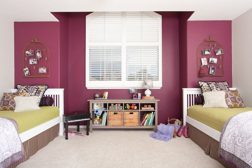 Target Chesapeake Va with Eclectic Kids Also Accent Wall Bed Pillows Bookcase Bookshelves Girls Room Pink Walls Plantation Shutters Shared Bedroom Storage Cubbies Toy Storage Twin Beds Window Treatments