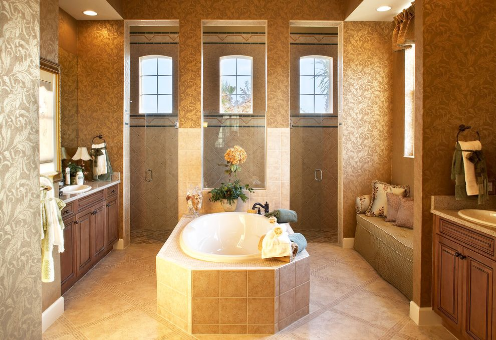Taylor Morrison Tampa   Mediterranean Bathroom  and Garden Tub His and Hers Master Bath Walk in Shower