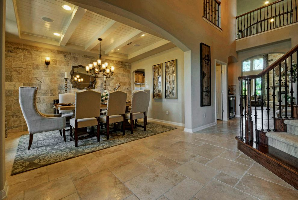 Taylor Morrison Tampa   Traditional Dining Room Also Austin Luxury Home Beadboard Ceiling Beams Dining Room Head Chair Large Dining Room Luxury Home Model Home Stone Wall
