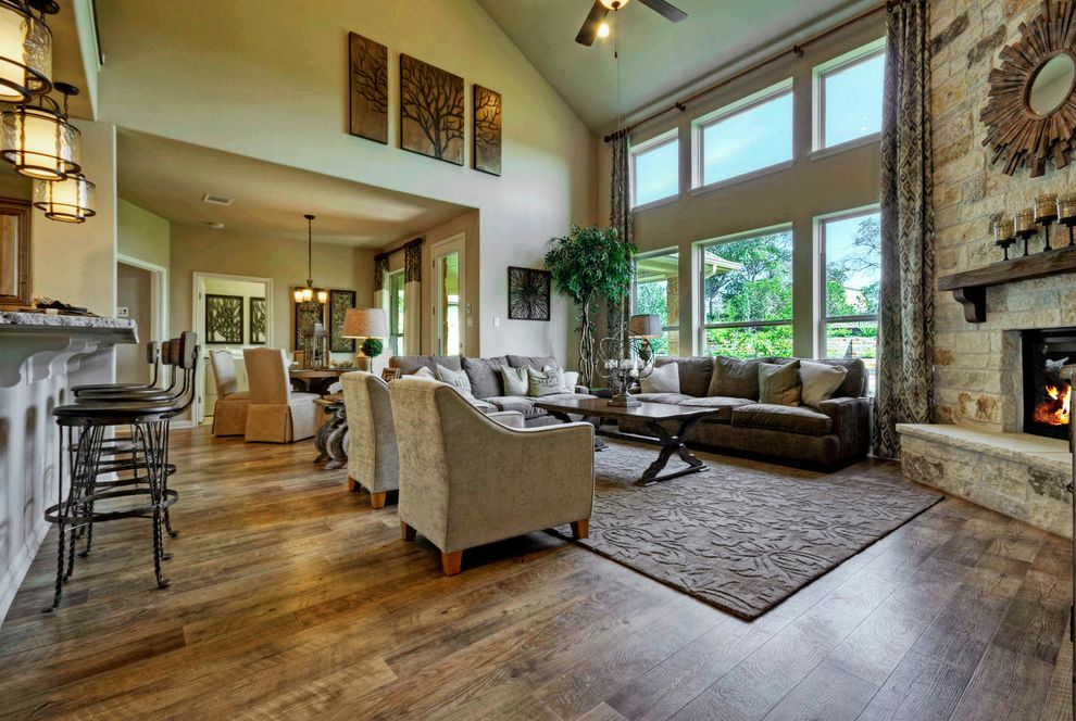 Taylor Morrison Tampa   Traditional Family Room Also Austin Luxury Home Luxury Home Model Home Stone Fireplace