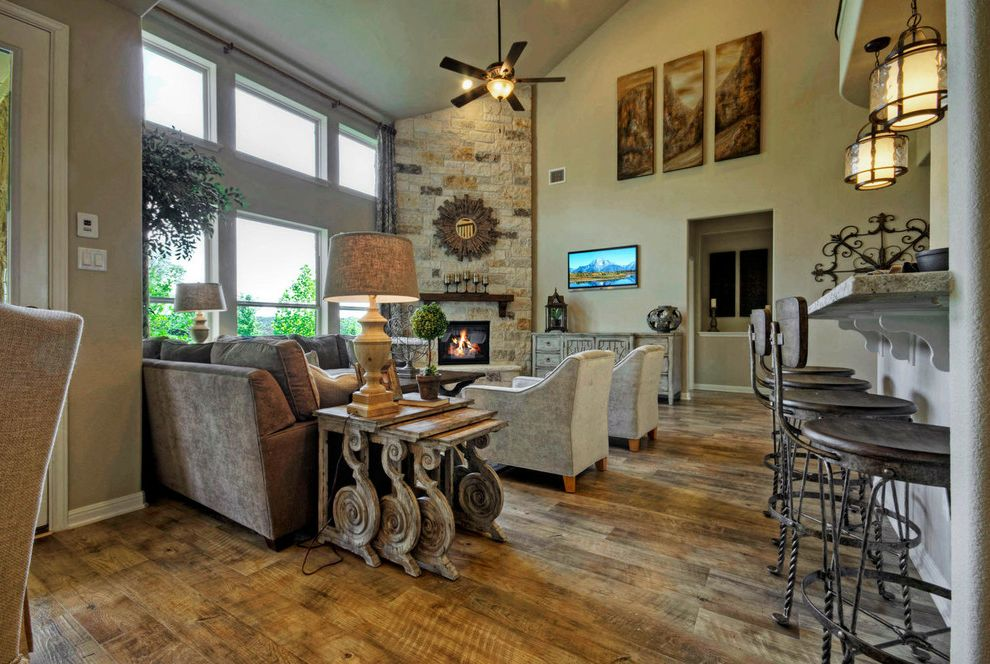 Taylor Morrison Tampa with Traditional Family Room Also Austin Luxury Home Luxury Home Model Home Rustic Wood Floors Stone Fireplace Two Story Family Room