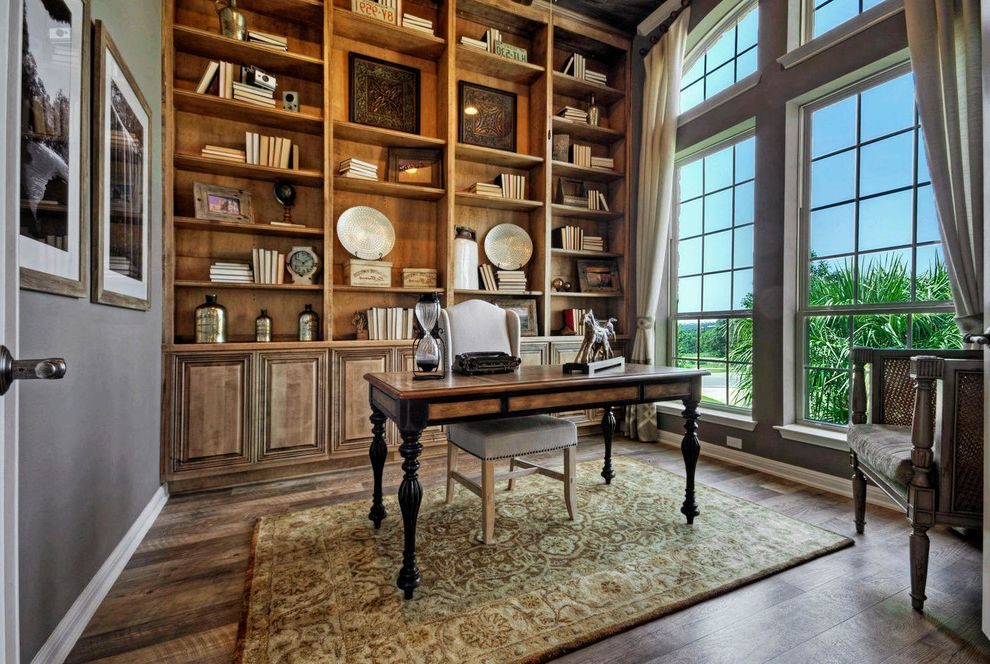 Taylor Morrison Tampa with Traditional Home Office  and Austin Luxury Home Built in Built in Shelves Floating Desk Luxury Home Masculine Study Model Home Study
