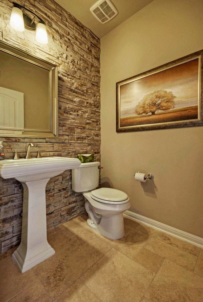 Taylor Morrison Tampa with Traditional Powder Room Also Austin Luxury Home Cultured Stone Luxury Home Model Home Powder Room Stone Interior Wall
