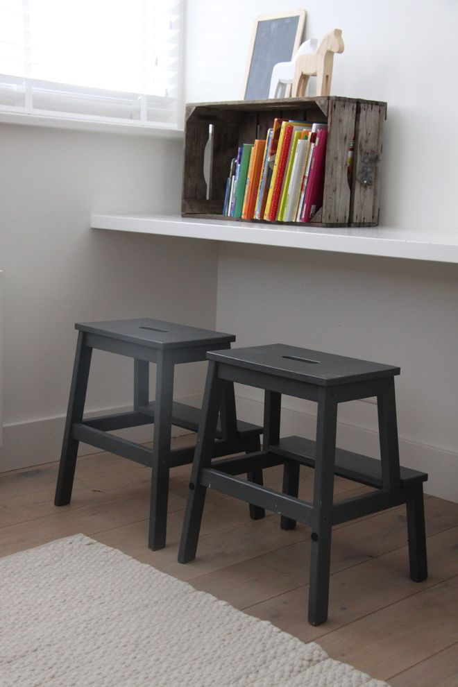 Teak Step Stool   Contemporary Spaces Also Blinds Books Boys Room Chalkboard Flat Area Rug Floating Shelf Gray Painted Stool Natural Wood Floor Neutral Colors Weathered Crate White Walls
