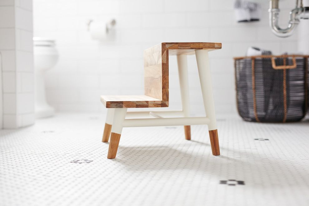 Teak Step Stool with Transitional Bathroom Also Flip Down Shower ...
