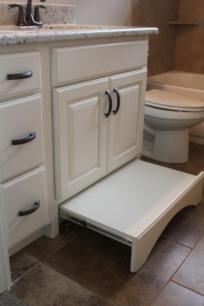Teak Step Stool with Craftsman Bathroom Also Craftsman