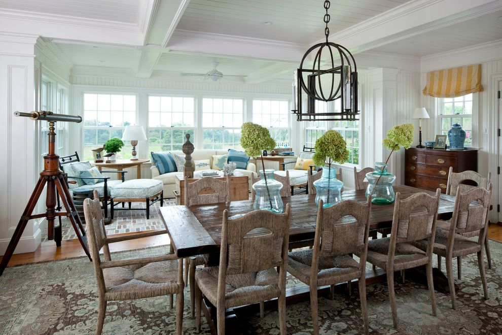 Telescoping Dining Table   Beach Style Dining Room Also Chain Dining Lighting Dining Pendant Exposed Beams Gray Rug Hydrangea Large Dining Table Living Room Paneled Ceiling Rush Seats Telescope Ten Chairs White Ceiling Wood Dining Table