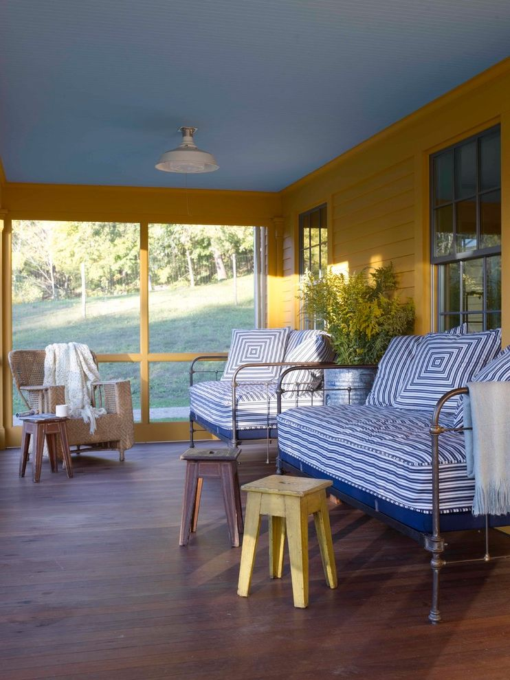 Tempurpedic Mattress Cover   Farmhouse Porch Also Blue Ceiling Front Porch Ipe Decking Metal Porch Furniture Porch Ceiling Reclaimed Decking Screen Porch Vintage Lighting Wicker Furniture Yellow and Blue