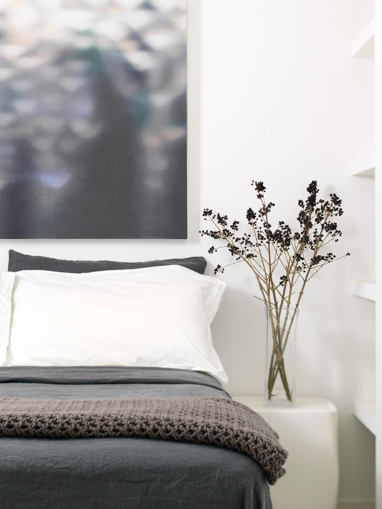 Tempurpedic Mattress Cover   Industrial Bedroom  and Artwork Bedside Table Black Berries Floral Arrangement Laura Wood Laura Wood Painting Minimal Neutral Colors Nightstand Wall Art Wall Decor