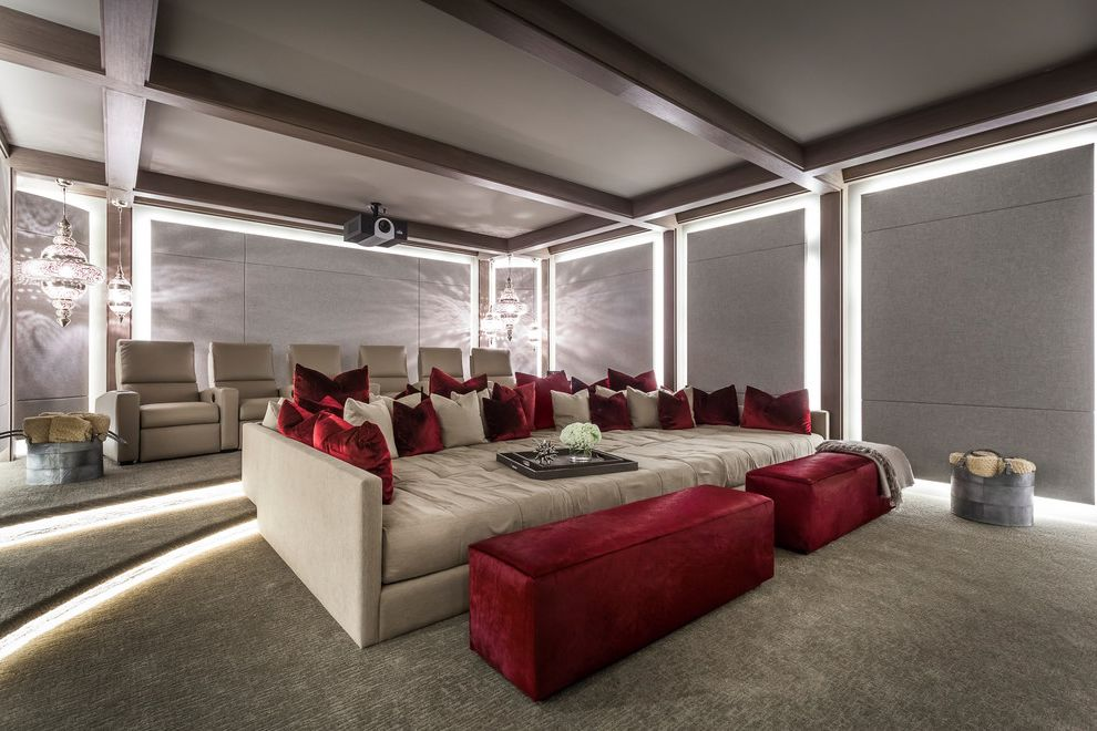 Terra Vista Theater   Contemporary Home Theater Also Armchairs Beams Burgundy Cushions Large Sofa Led Ottoman Pop of Color