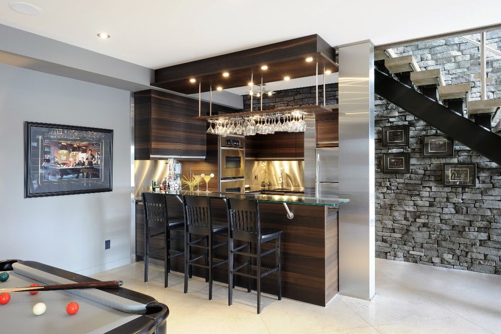 The Bar Method Princeton   Contemporary Basement Also Best Home Bar Neutral Colors Oak Cabinets Pool Table Stainless Steel Backsplash Stone Wall Wet Bar Wine Glass Storage Wine Racks