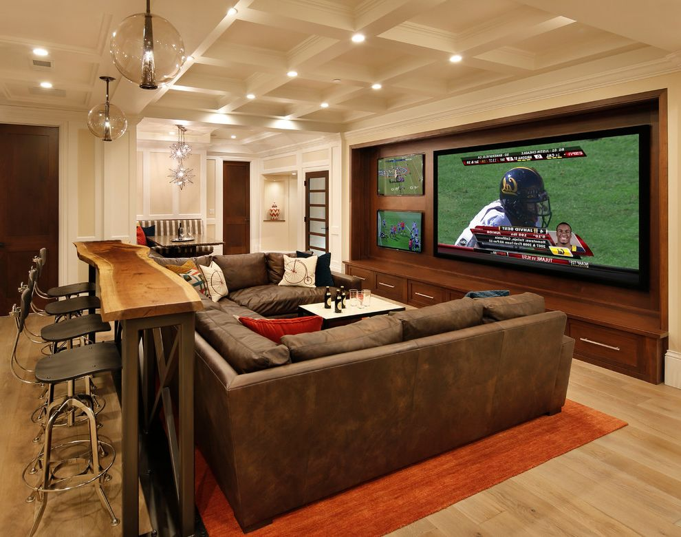 The Bar Method Princeton with Traditional Home Theater  and Barn Door Basement Beams European White Oak Floor Media Room Projector Walnut Cabinets