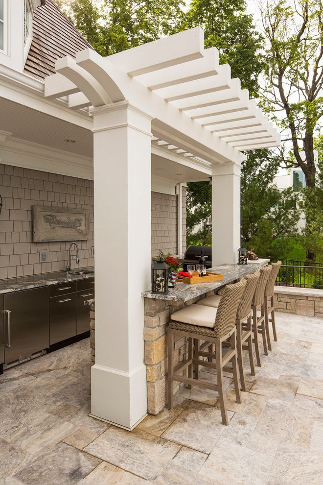 The Bar Method Princeton with Traditional Patio  and Entertaining Yard Lake House Outdoor Kitchen Outdoor Lighting Outdoor Living Pavers Wicker Bar Stools