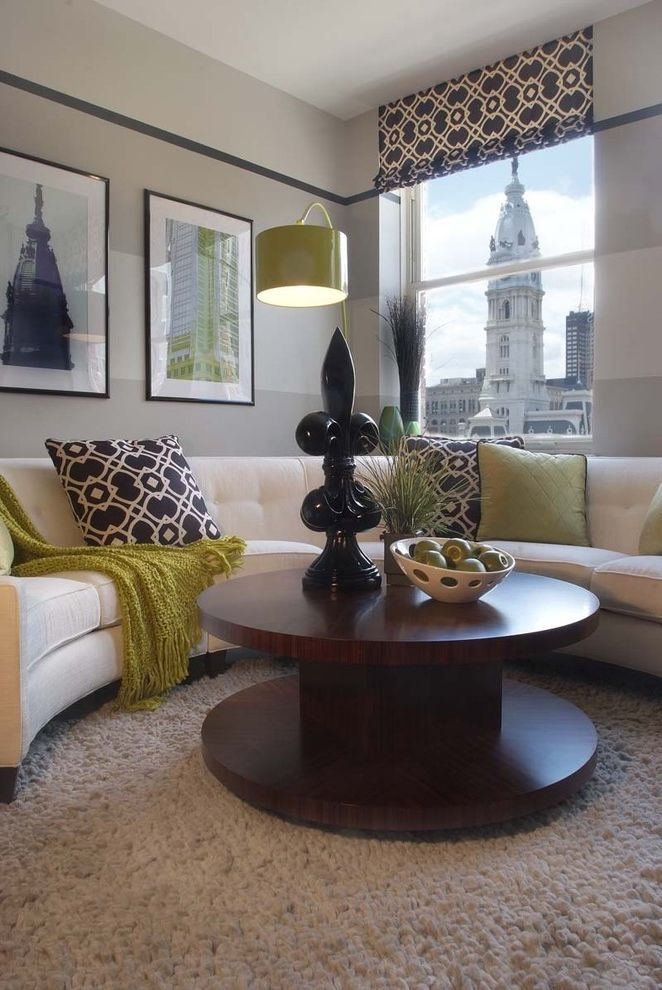 The Colonnade Apartments Phoenix   Contemporary Living Room  and Arc Lamp Artwork Black and White Carpeting City View Contemporary Curved Sofa Gray Painted Walls Green Living Room Printed Fabric Roman Valance Round Coffee Table Stripes