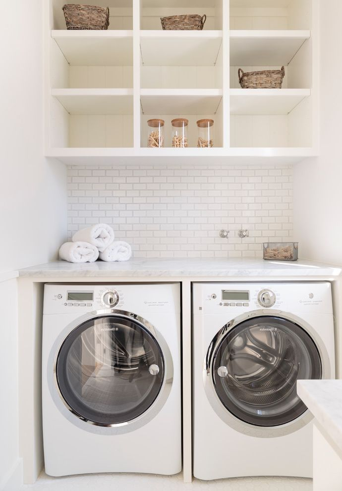 The Laundry Room Las Vegas   Beach Style Laundry Room Also Back Splash Beach Cabinetry Dryer Laundry Laundry Counter Laundry Room Open Shelves Transitional Washer