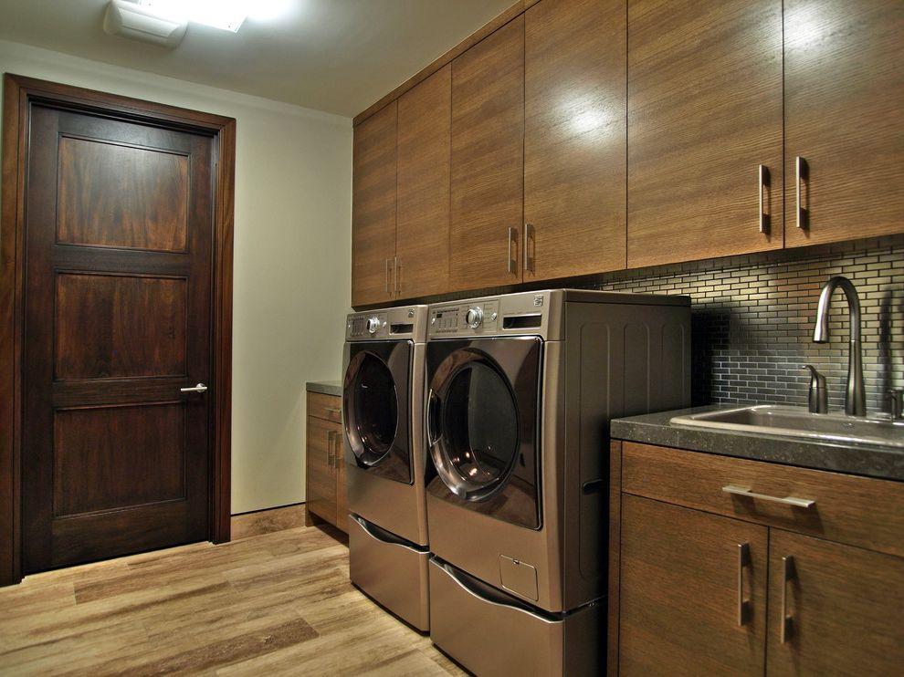 The Laundry Room Las Vegas   Contemporary Laundry Room Also Charcoal Countertop Dark Wood Door Dryer Metallic Backsplash Subway Tile Washing Machine Wood Cabinets Wood Floor
