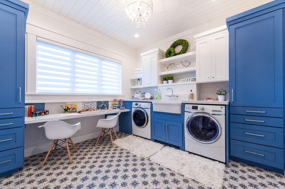 The Laundry Room Las Vegas   Transitional Laundry Room Also Blue Cabinets Blue Tile White Pendant Light White Plastic Molded Chair White Shag Rug
