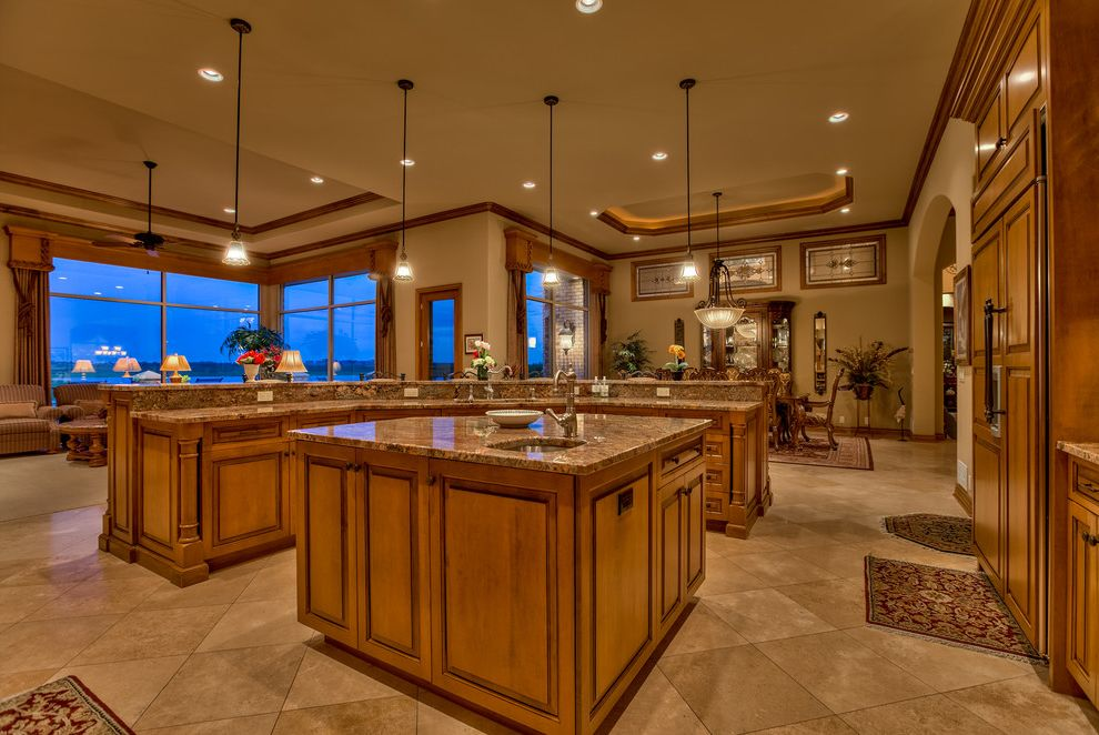The Light Palace Omaha   Traditional Kitchen Also Arjay Beautiful Pools Bennington Firepit Island Sink Nebraska Omaha Pendant Lights Pool Raised Ceiling Sub Zero