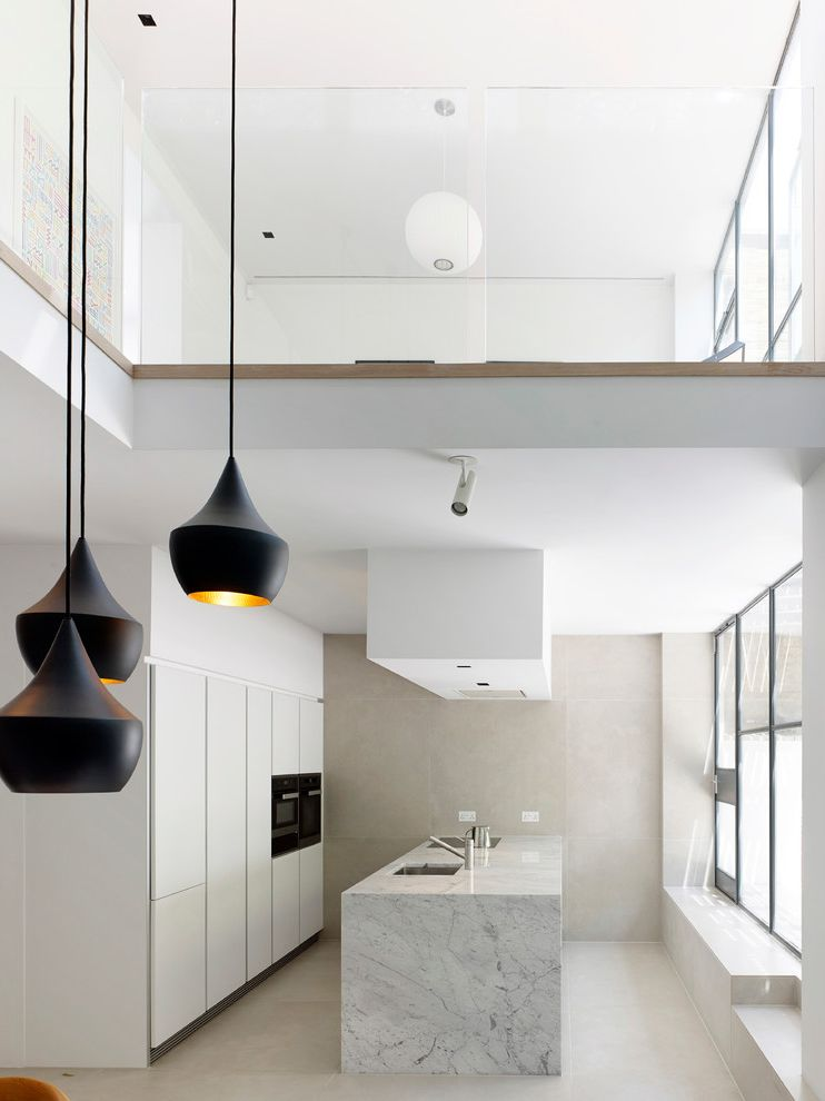 The Light Palace Omaha with Scandinavian Kitchen  and Contemporary Kitchen Cool White Kitchen Marble Work Surface Marble Worktop Mezzanine Pendant Group Stainless Steel Sinks Tom Dixon Tom Dixon Pendant White Cabinets White Kitchen Wrap Around Worktop