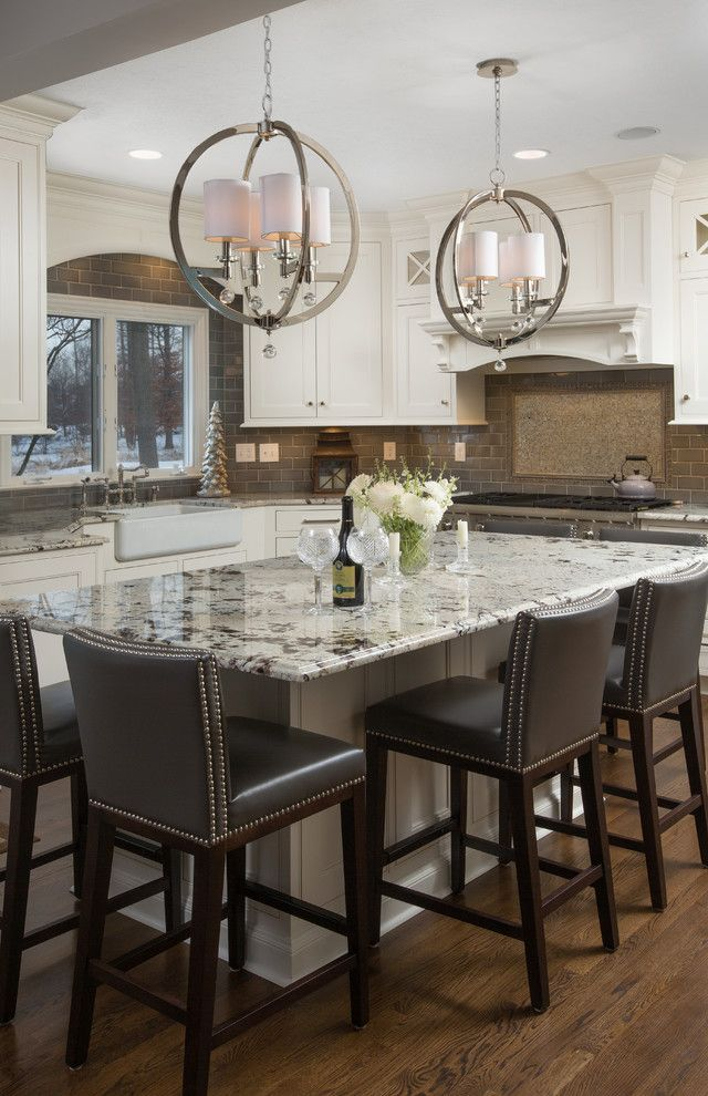 The Light Palace Omaha with Traditional Kitchen  and Kitchen Island Lighting Nailhead Trim Pendant Light Recessed Lighting Upholstered Bar Stols