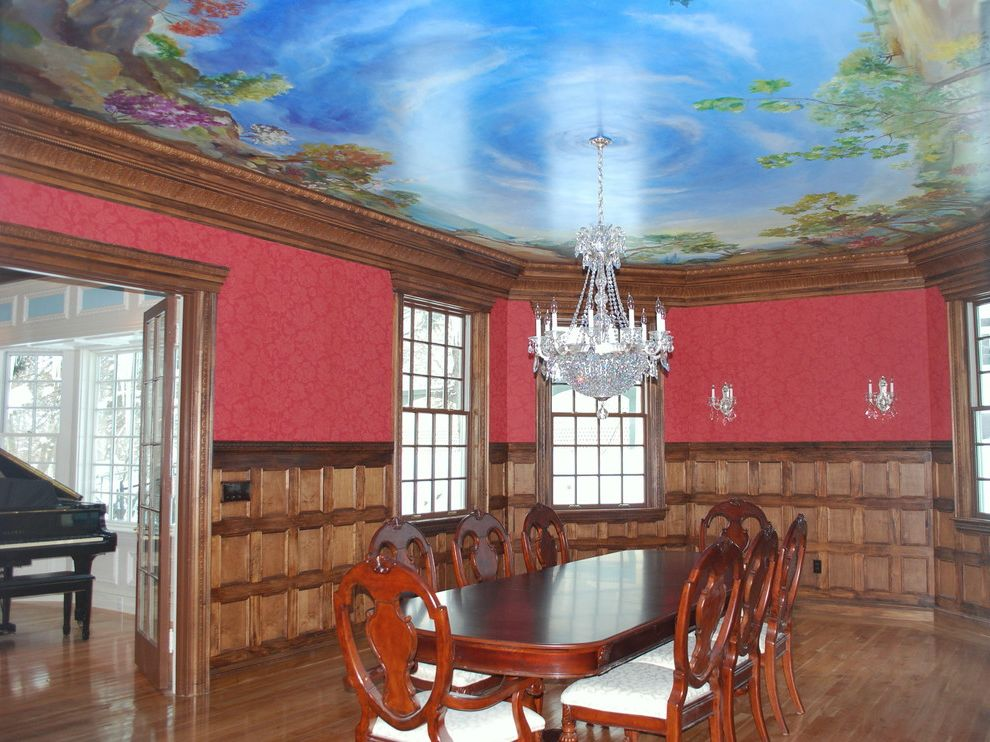 The Lord is My Shepherd Verse with Traditional Dining Room  and Ceiling Mural Trompe Loeil