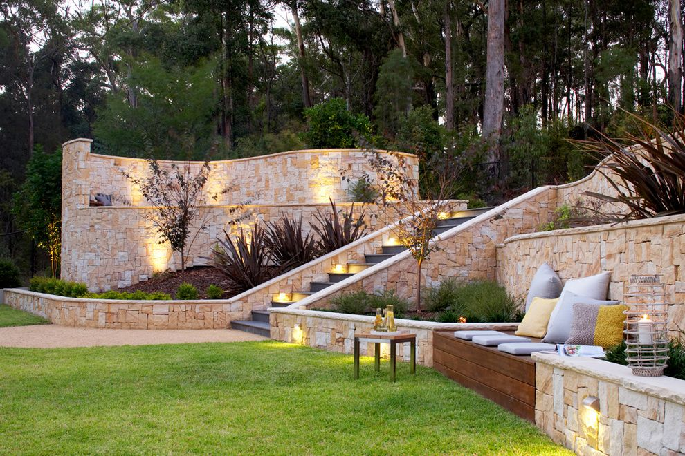 The Pool Store Valdosta Ga   Contemporary Landscape Also Backyard Built in Bench Grass Lawn New Zealand Flax Outdoor Steps Retaining Walls Sandstone Cladding Retaining Walls Step Lighting Stone Wall Stone Walls Terraced