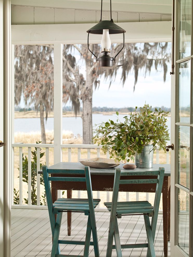 The Pool Store Valdosta Ga   Shabby Chic Style Porch Also Beach House Cottage French Door Lantern Reclaimed Rustic Shabby Chic Wood Chair Wood Table