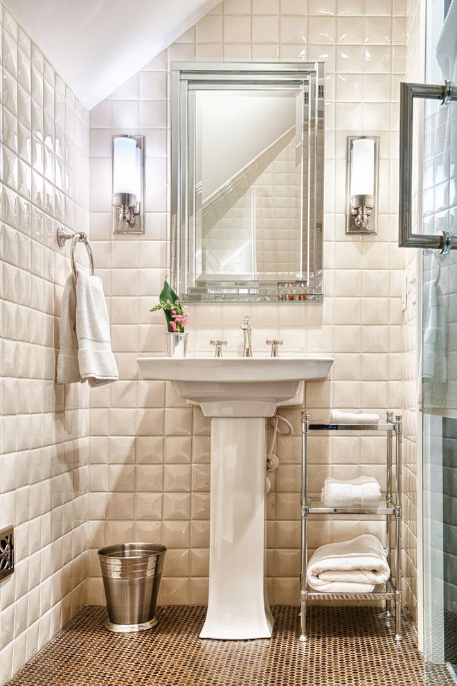 The Tile Shop Greenville Sc   Traditional Bathroom  and Brown Floor Tile Framed Mirror Three Dimensional Tile Towel Shelf Trash Can Wall Sconces