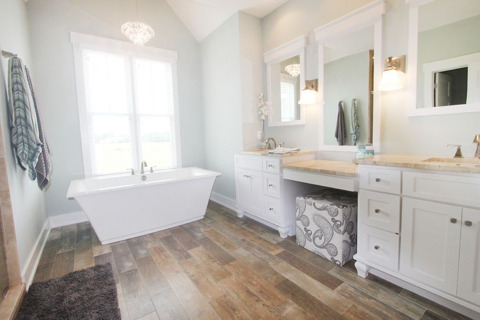 The Tile Shop Greenville Sc   Traditional Bathroom  and Design Freestanding Bath Freestanding Tub Master Bath Master Suite Shower Tile Shower Tub Walk in Shower White Cabinets White Trim Wood Floor