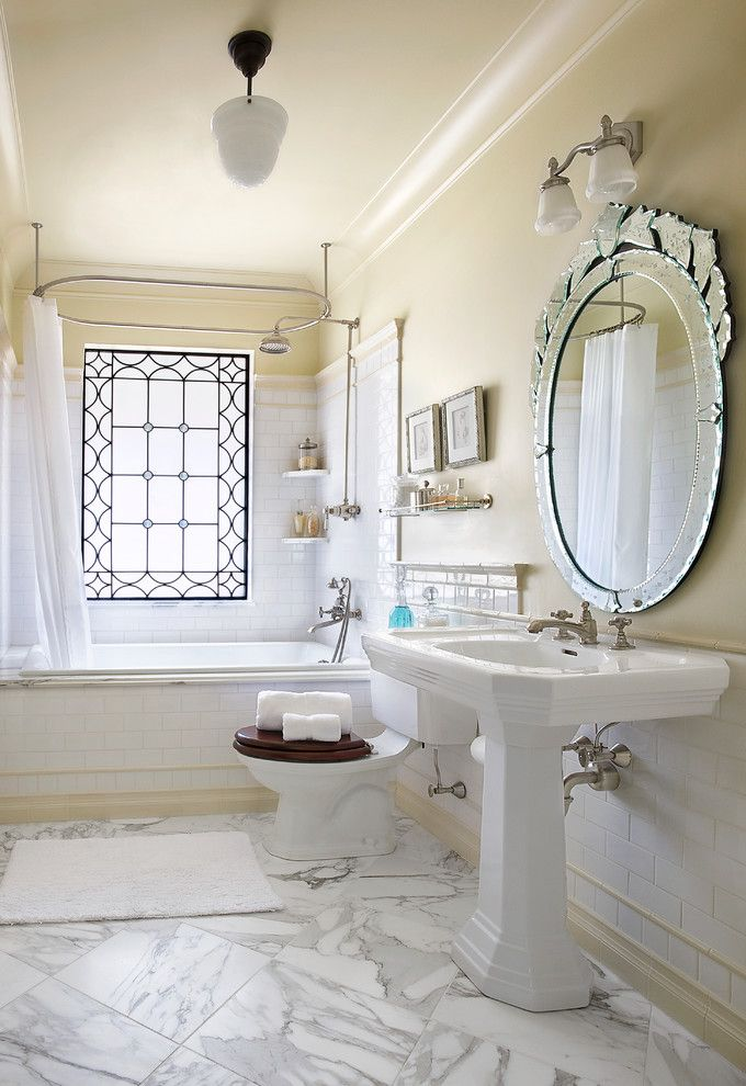 The Tile Shop Greenville Sc   Victorian Bathroom  and Accent Window Marble Floor Oval Mirror Shelf Shower Shower Curtain Shower Head Sink Tiled Tub White Tile Wood Seat