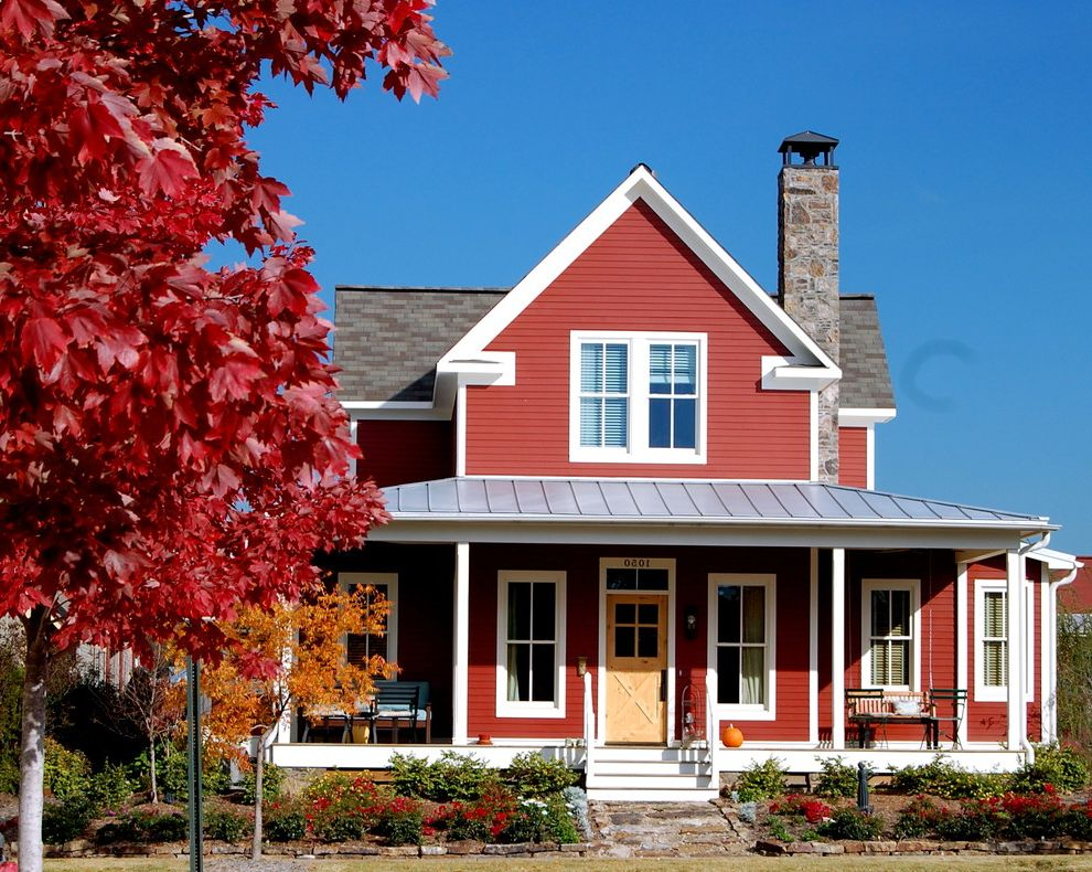 The Village At Gracy Farms With Farmhouse Exterior And Front Entrance Landscape Porch Red