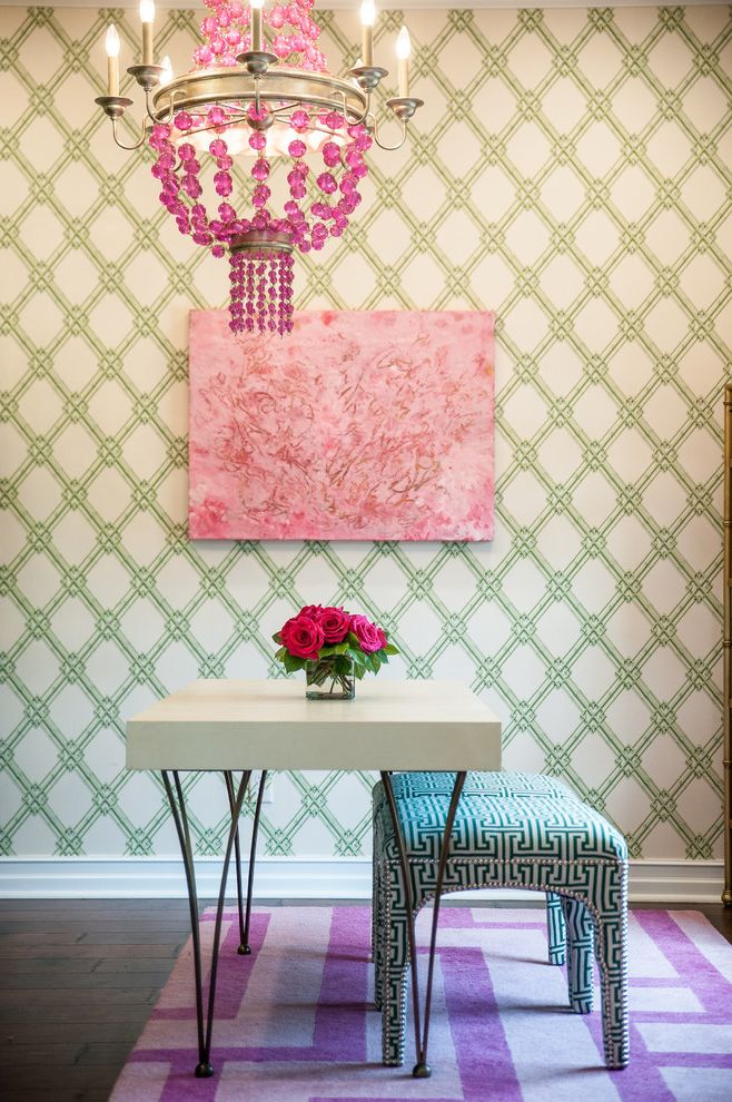 The Woodlands of College Station   Transitional Home Office Also Chandelier Color Custom Green and Pink Pop of Color Purple Rug Wall Art Wallpaper White Desk