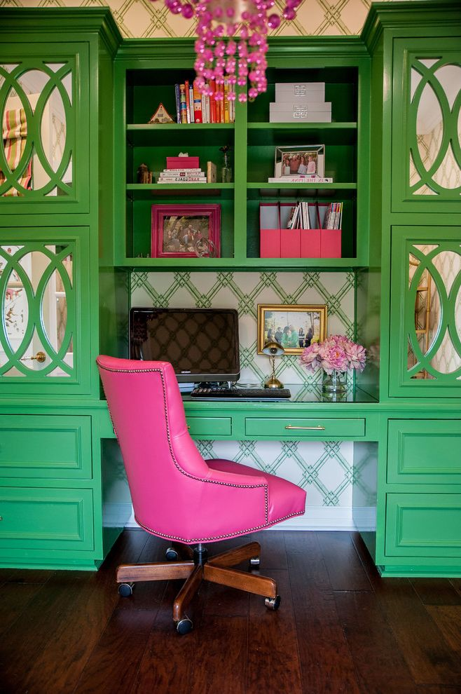 The Woodlands of College Station   Transitional Home Office  and Bold Custom Desk Chair Family Green and Pink Mirrored Cabinet Doors Organization Pop of Color Wallpaper