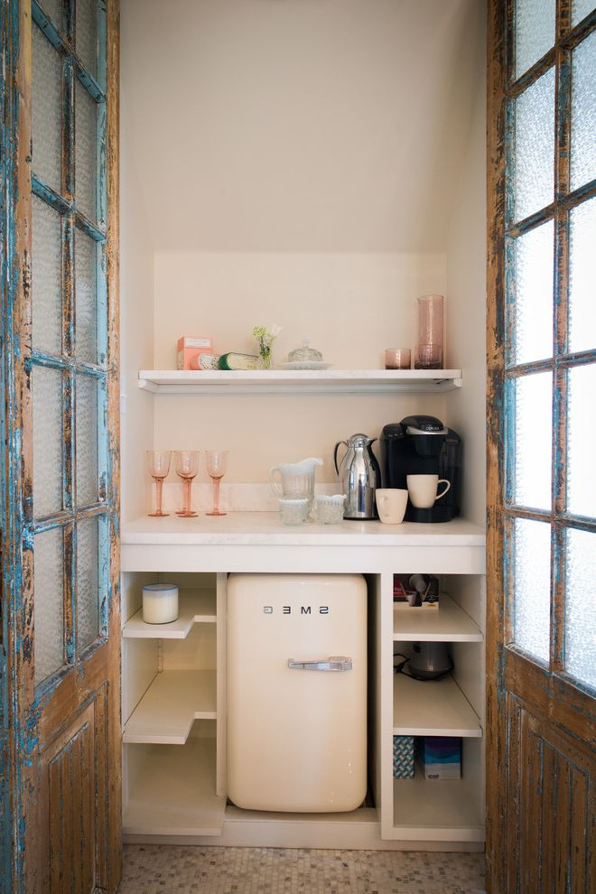 The Woodlands of College Station with Shabby Chic Style Kitchen Also Charming Coffee Bar Cute Distressed Doors Glassware Mini Fridge Mosaic Tile Floor Open Shelves