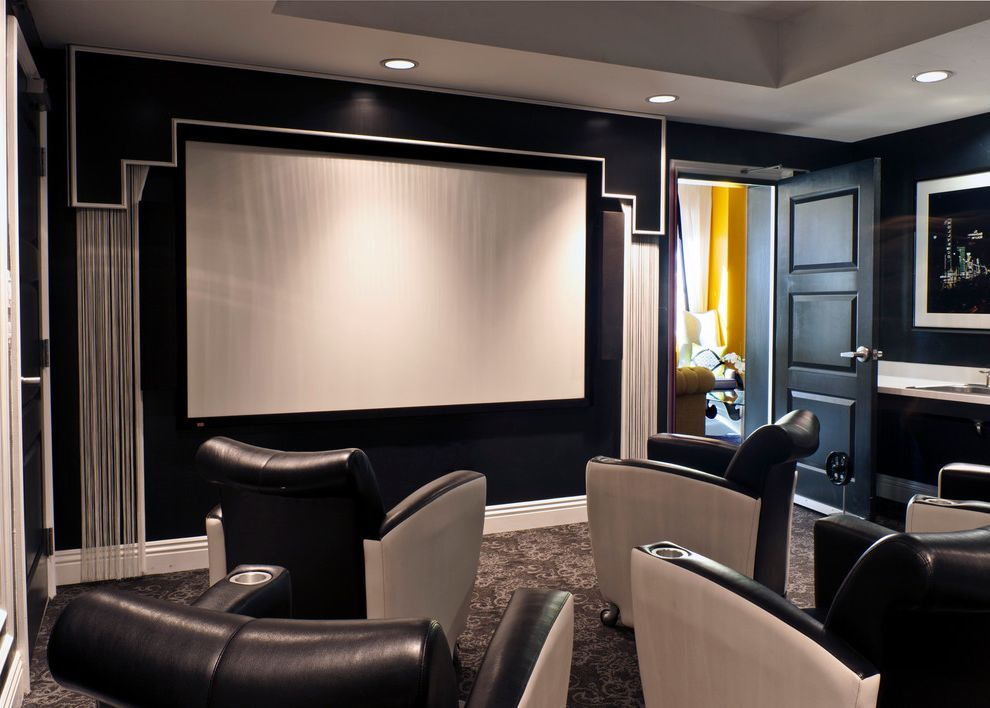 Theater Conroe Tx with Contemporary Home Theater and Beige Leather Armchair Black Door Black Leather Lounge Chair Black Wall Gray Carpet Gray Ceiling Gray Cushions Painted Ceiling Projector Screen Tray Ceiling