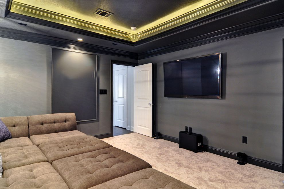 Theater Conroe Tx with Transitional Home Theater and Beige Carpet Black Walls Dark Gray Walls Dark Grey Walls Home Theater Chairs Home Theater Seating Home Theater Sofa Home Theater Sofa Set Media Room Seating Raised Ceiling