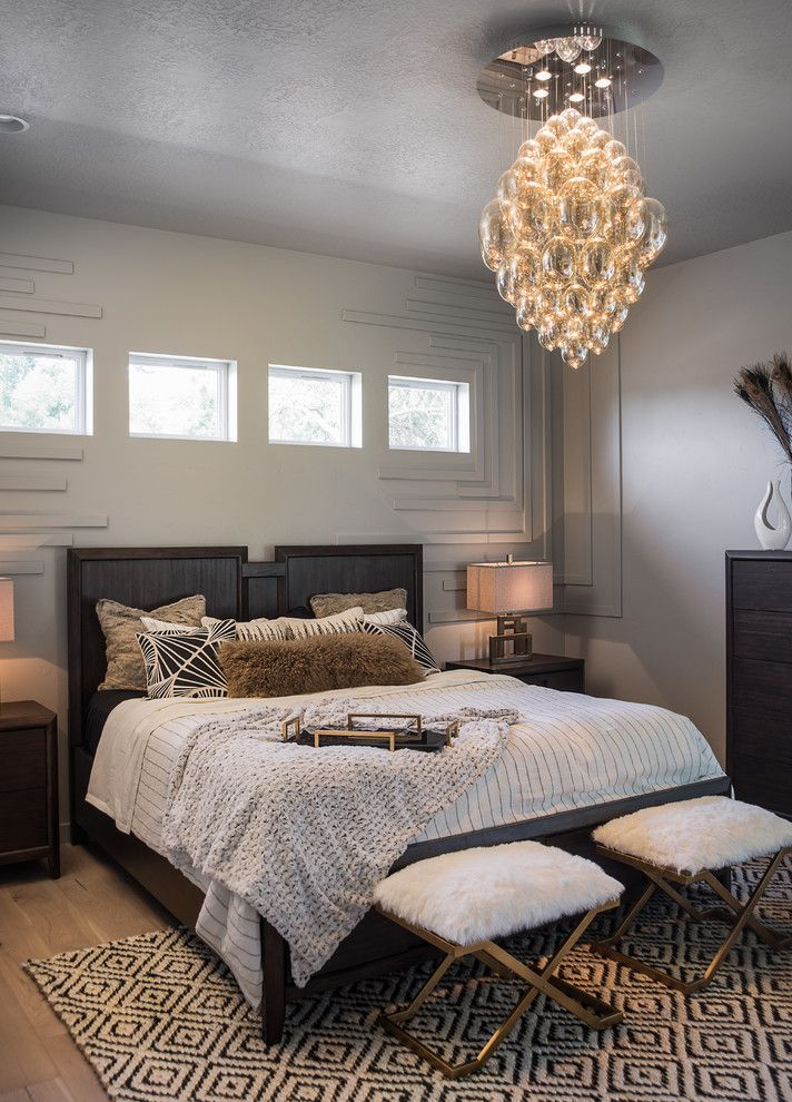 Theaters in Boise Idaho   Transitional Bedroom Also Beige Lampshades Black and White Rug Black and White Throw Pillows Bubble Ceiling Lighting Clerestory Windows White Bedding
