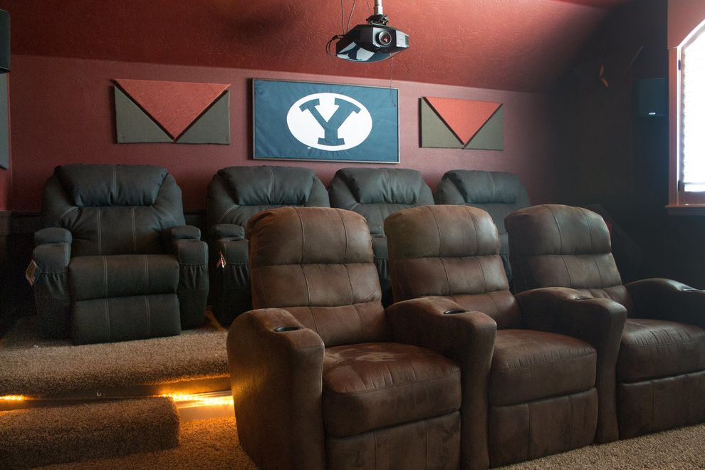 Theaters in Boise Idaho with  Home Theater  and Byu Home Theater Home Theatre Seating Leather Chair Leather Lounge Chair Rope Light Theater Seating Themed Rooms