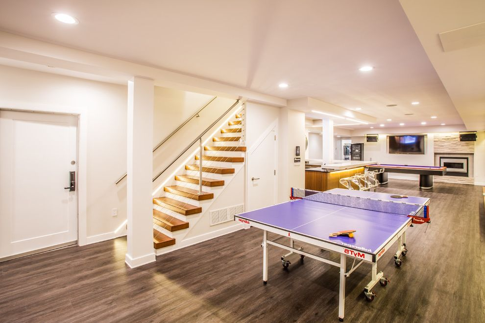 Thick Stair Treads Contemporary Basement And Dark Hardwood Floor Home Bar Illuminated  Stairs Ping Pong Table