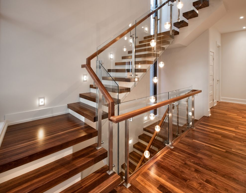 Thick Stair Treads   Contemporary Staircase Also Glass Panels Glass Railing Hallway Multi Light Pendant Open Staircase Recessed Lighting Stair Lighting Thick Stair Treads White Walls Wood Handrail Wood Stair Treads