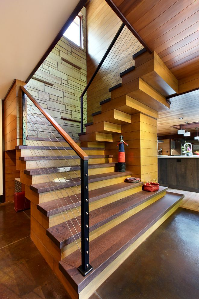 Thick Stair Treads Rustic Staircase And Cable Railing Contemporary Earthy Modern Stacked Stone Wall Wood Tongue Groove Ceiling Wooden
