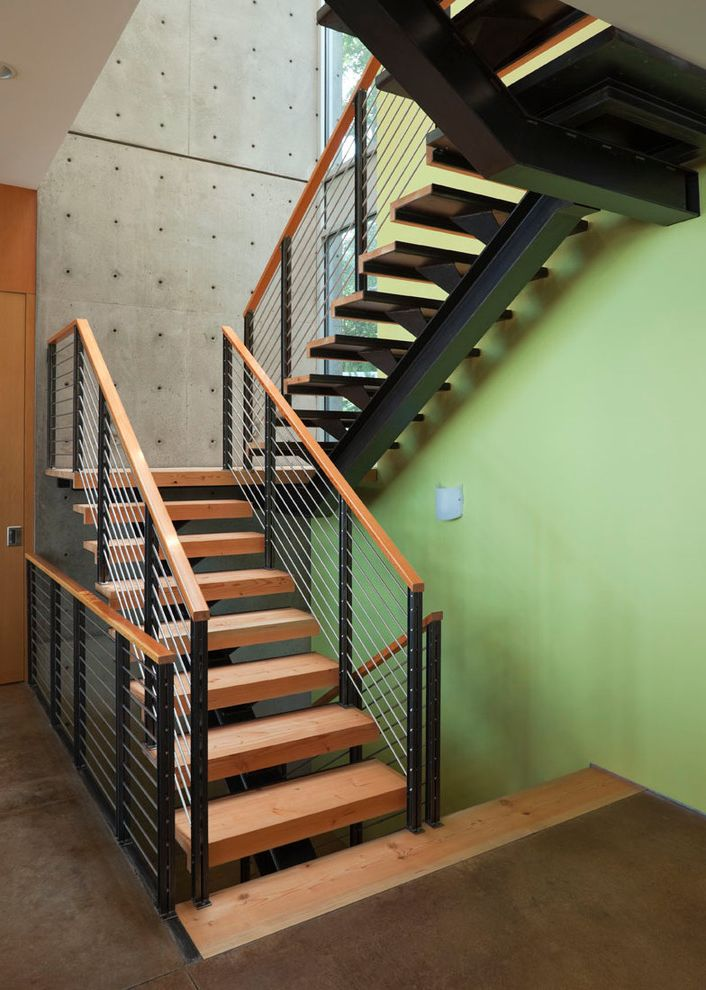 Thick Stair Treads with Contemporary Staircase Also Accent Wall Cable Railing Concrete Concrete Floors Concrete Wall Contemporary Floating Stairs Green Wall Metal Railing Thick Stair Treads Wood Handrail