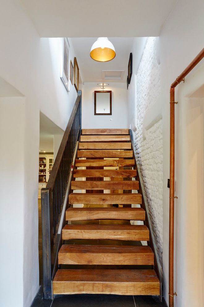 Thick Stair Treads with Farmhouse Staircase Also Antique Floor Contemporary Design Copper Pipe Cottage Metal Pipe Rough Hewn Wooden Stairs White Painted Brick Wall Wood Floors