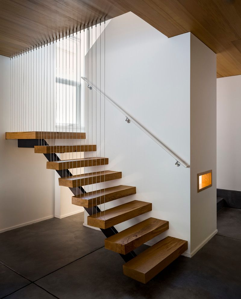 Thick Stair Treads with Modern Staircase Also Modern