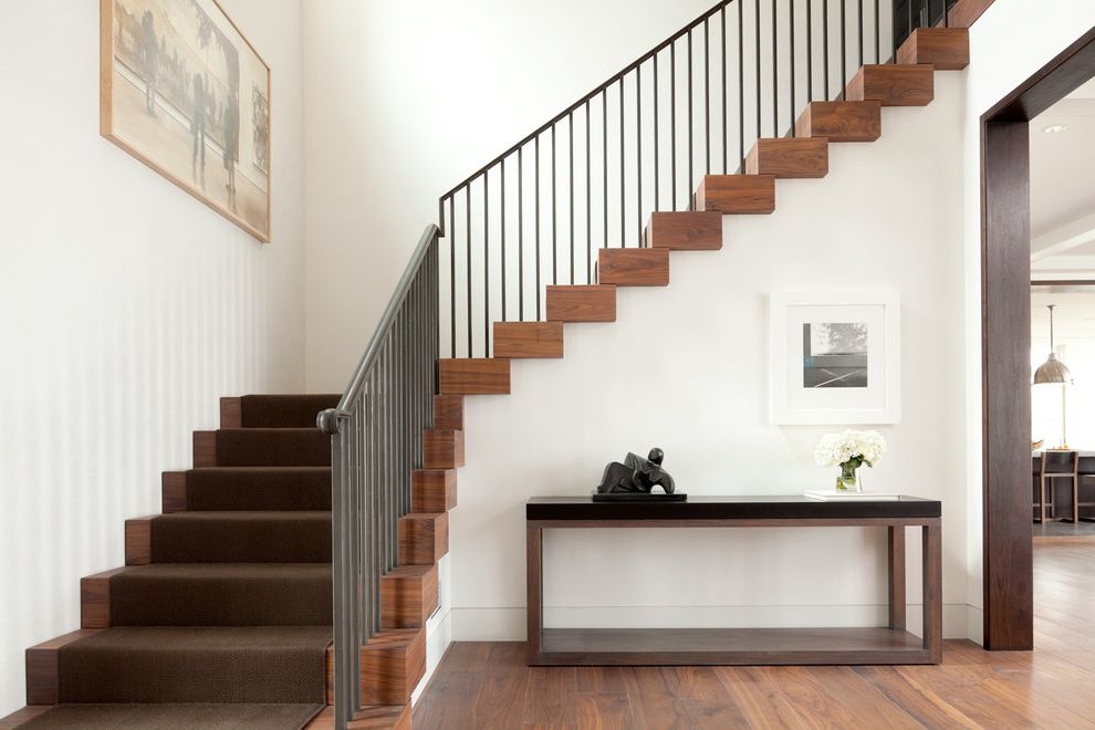 Thick Stair Treads With Transitional Staircase And Brown Stair Runner  Console Table Dark Wood Trim Framed Artwork Metal Railing Open Doorway  Thick Stair ...