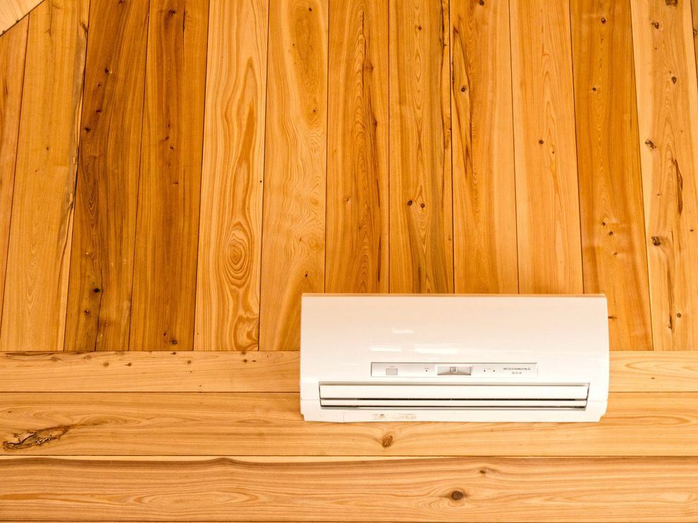 Thigpen Heating and Air with Rustic Spaces  and Artisan Asheville Cabin Cypress Ductless Hardwood Mini Split North Carolina Rustic Rustic Cabin