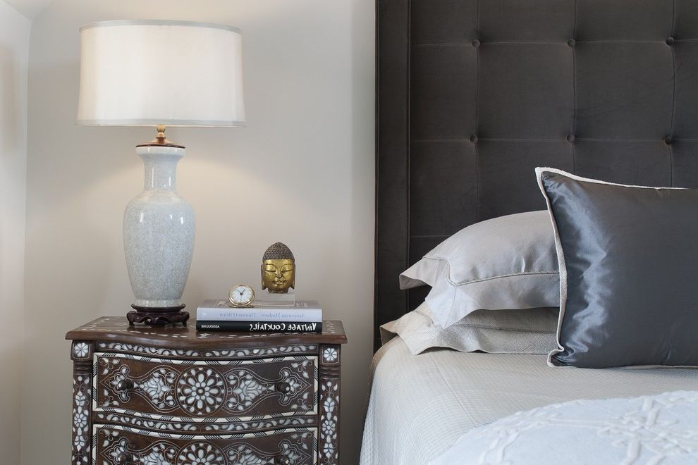 Thin Night Stands   Transitional Bedroom  and Chocolate Brown Deep Button Gray Satin Pillow Mother of Pearl Nightstand Design Painted Nightstand Tufted Headboard Upholstered Headboard White White Table Lamp